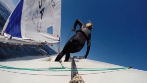 Hanne Weaver in action while sailing