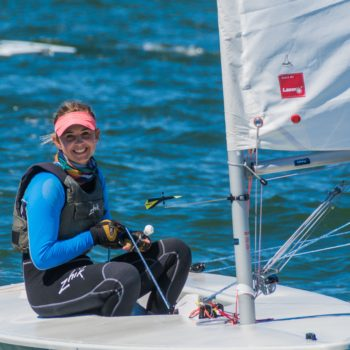 Smiling Hanne Weaver before sailing competition