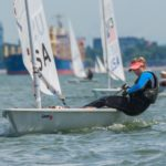 Hanne Weaver sailing in a regatta
